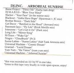 dj.inc. - arboreal sunrise liner notes